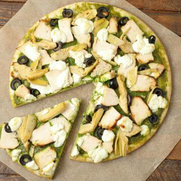 Gluten Free Spinach Pesto Pizza