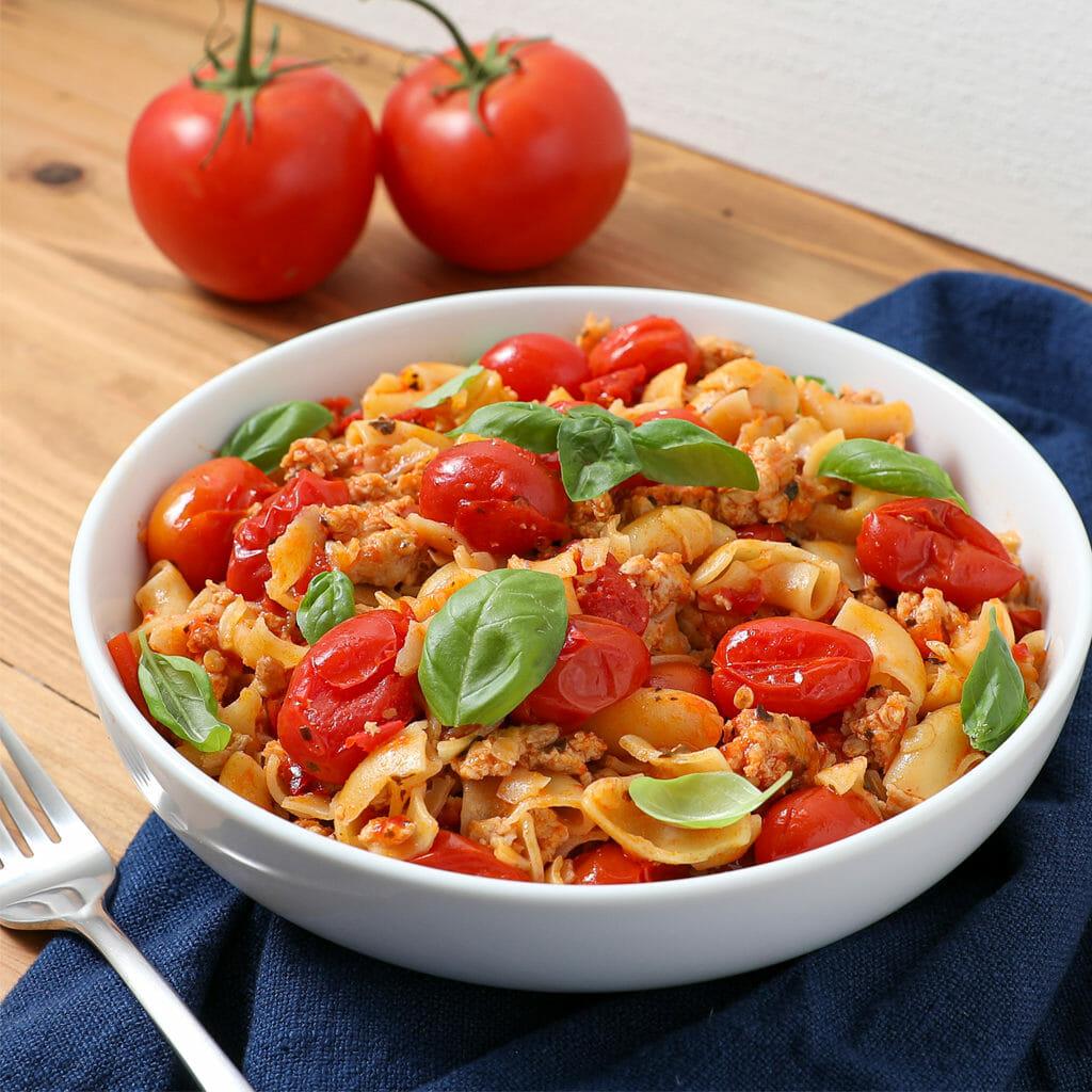 Gluten Free Bruschetta Chicken Feta Pasta