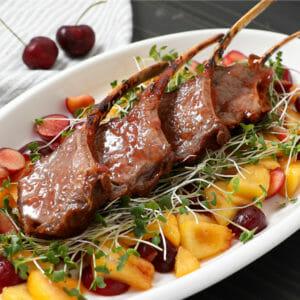 Chili Rubbed Lamb Chops with Rhubarb Marmalade
