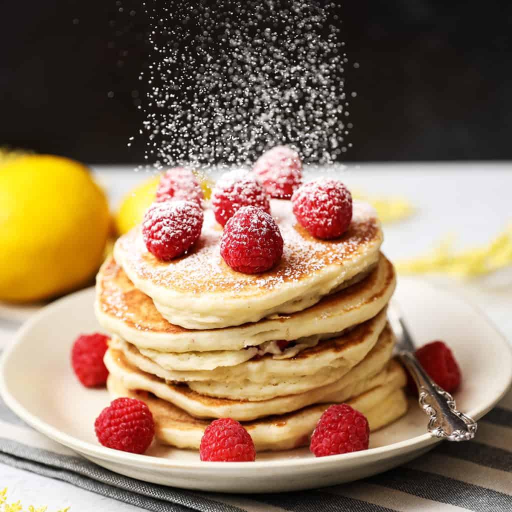 Lemon Ricotta Raspberry Pancakes