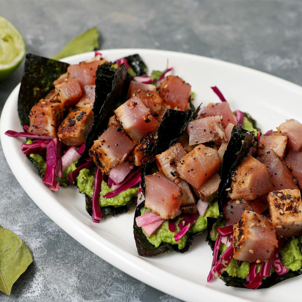Miso Glazed Ahi Tuna Tacos in Nori Wrap