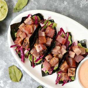 Miso Glazed Ahi Tuna Tacos in Nori Wrappers