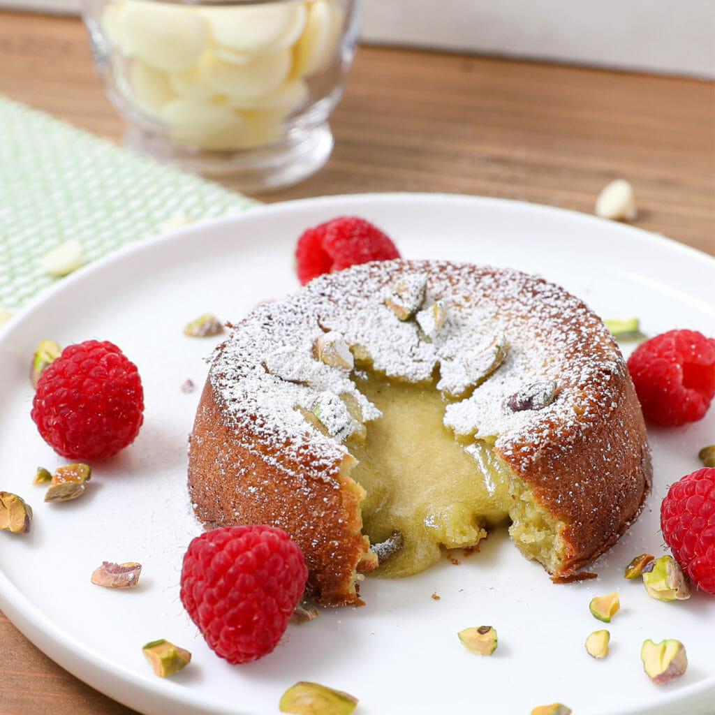Gluten Free White Chocolate Pistachio Lava Cakes