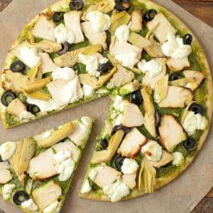 Gluten Free Chicken Pesto Pizza