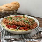Gluten Free Chicken Parmesan over Dairy Free Fettuccini Alfredo