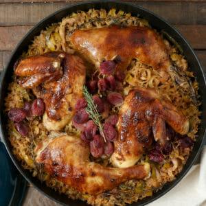 Fig Miso Glazed Chicken with Mushroom Leek Rice