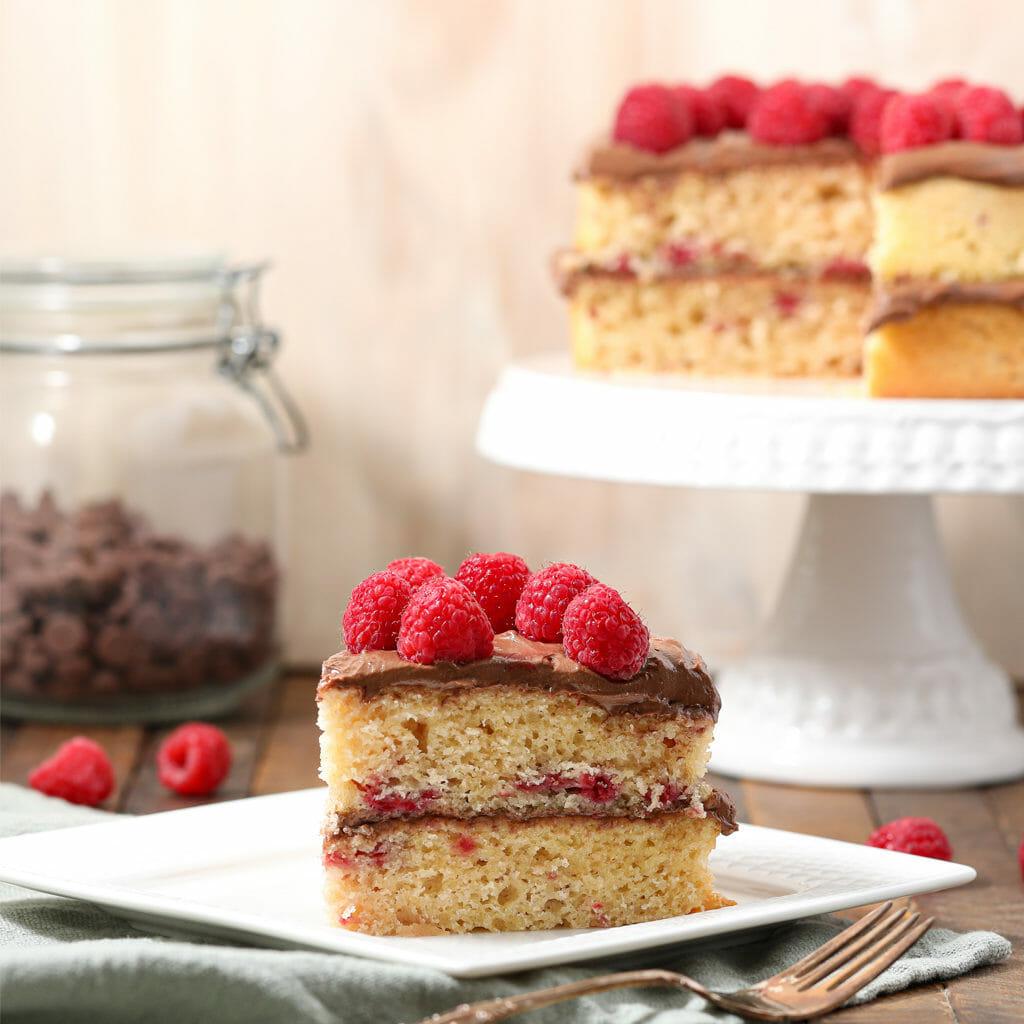 Gluten Free Raspberry Cake with Chocolate Buttercream