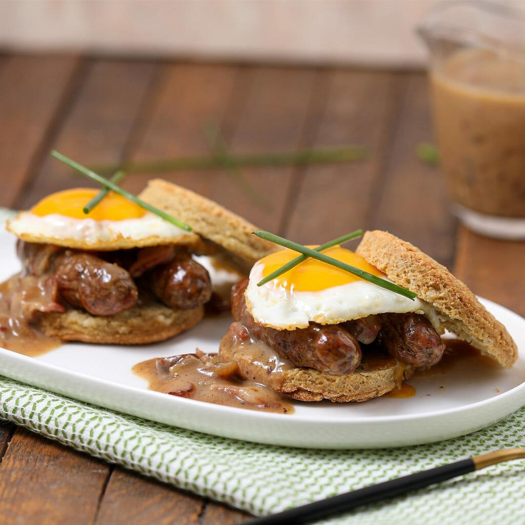 Gluten Free Biscuits with Sausage Duck Glace Gravy