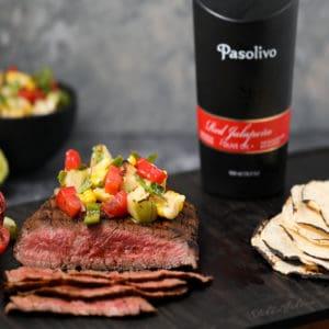 Flank Steak with Charred Chayote Salsa