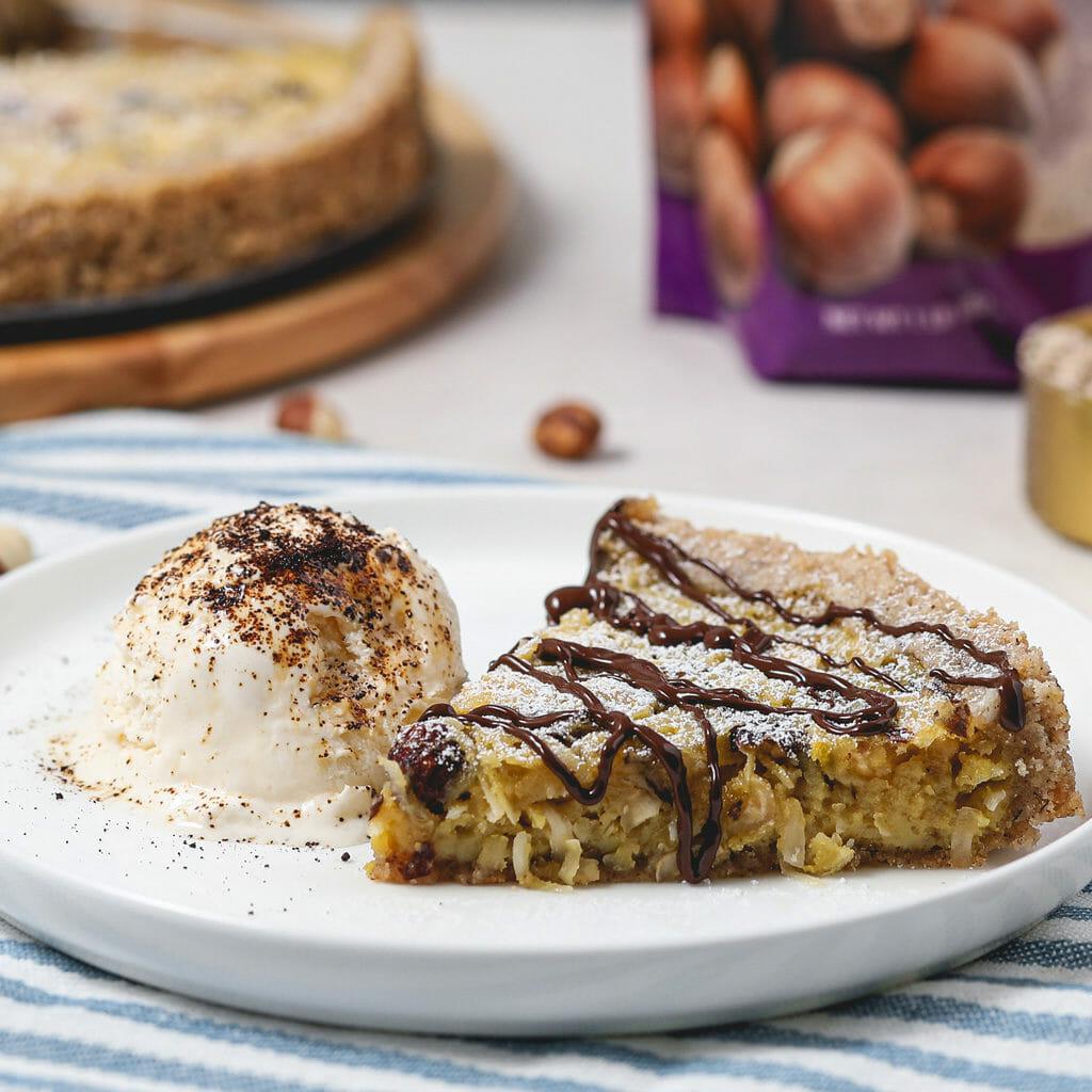 Gluten Free Chocolate Coconut Hazelnut Tart