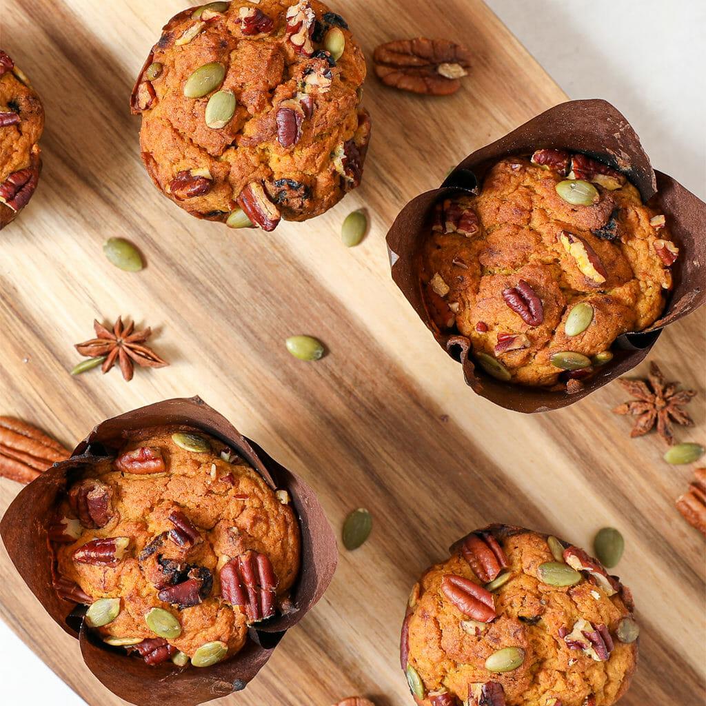 Gluten Free Spiced Pumpkin Raisin Muffins