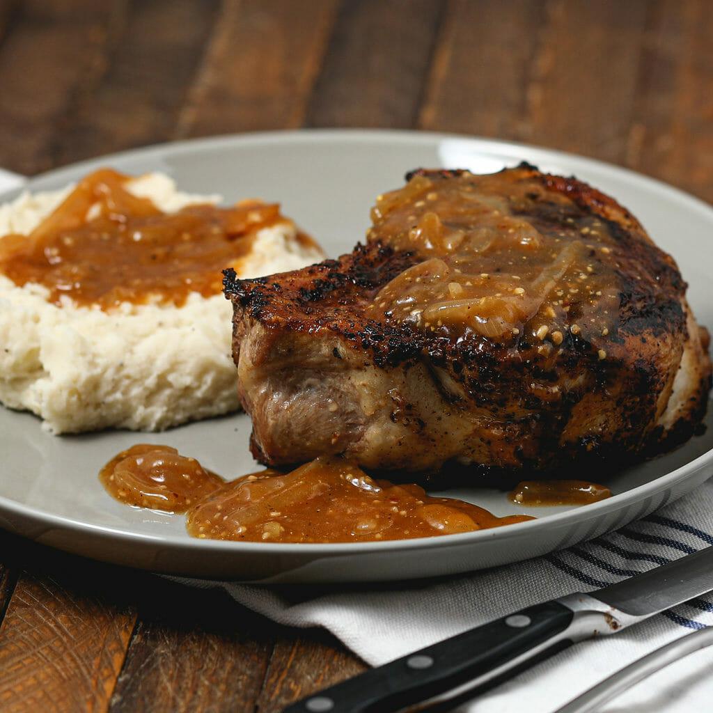 Gluten Free Rose Harissa Pork Chops with Onion Gravy