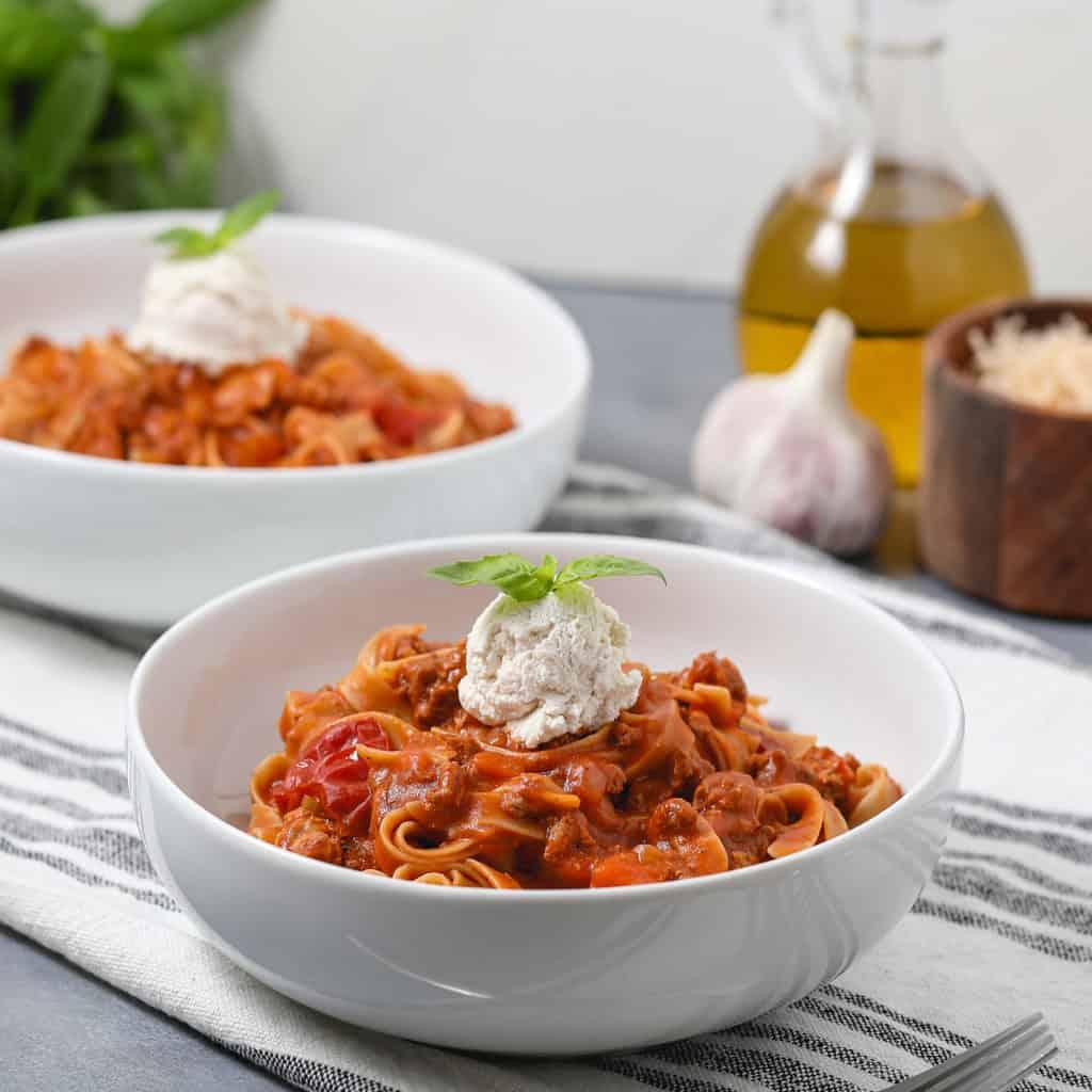 Gluten Free Decadent Meaty Pasta Bolonese