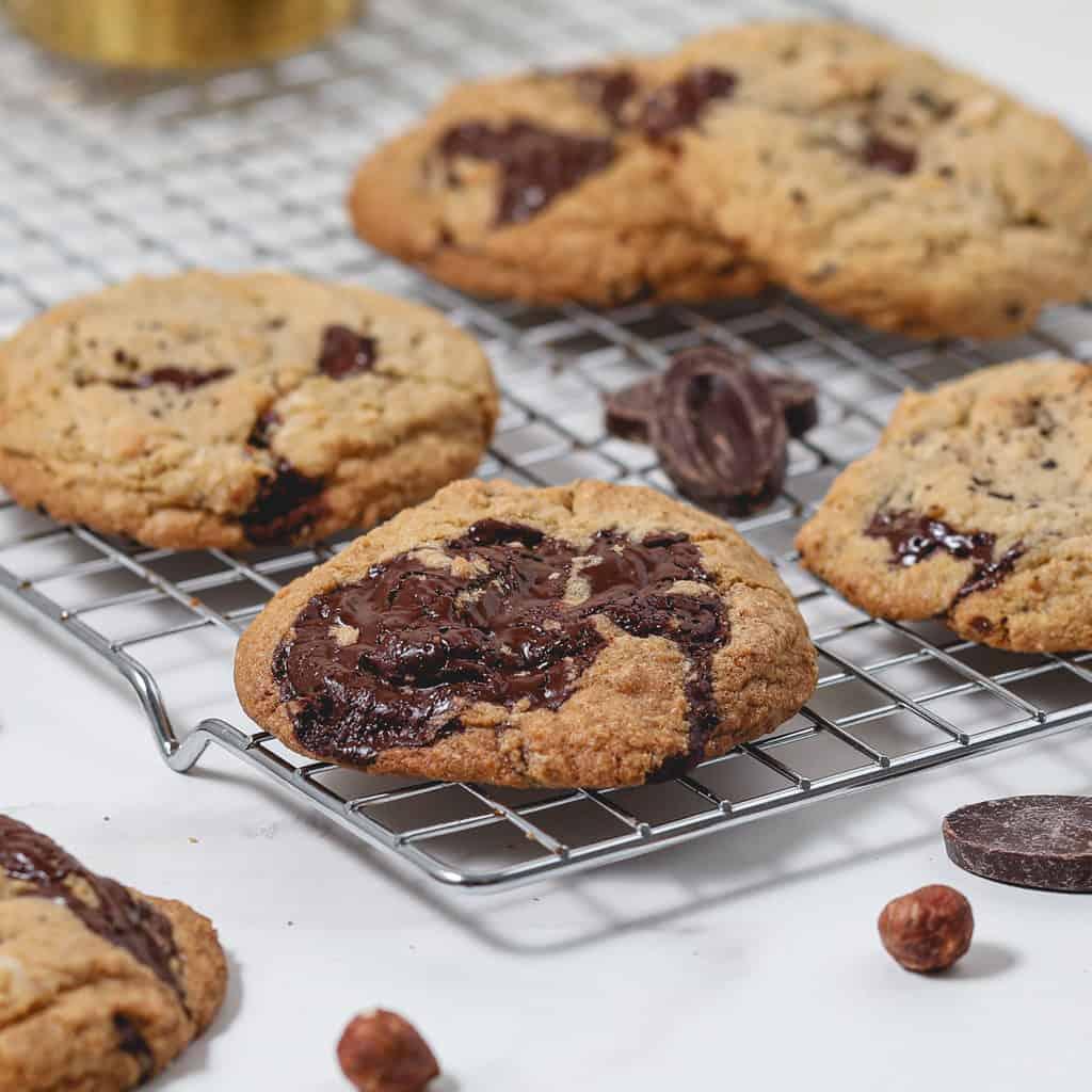 Gluten Free Espresso Dark Chocolate Chip Cookies with Hazelnuts
