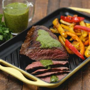 Gluten Free Flank Steak with Cilantro Chimichurri