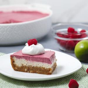 Gluten Free Double Layer Key Lime Raspberry Cheesecake