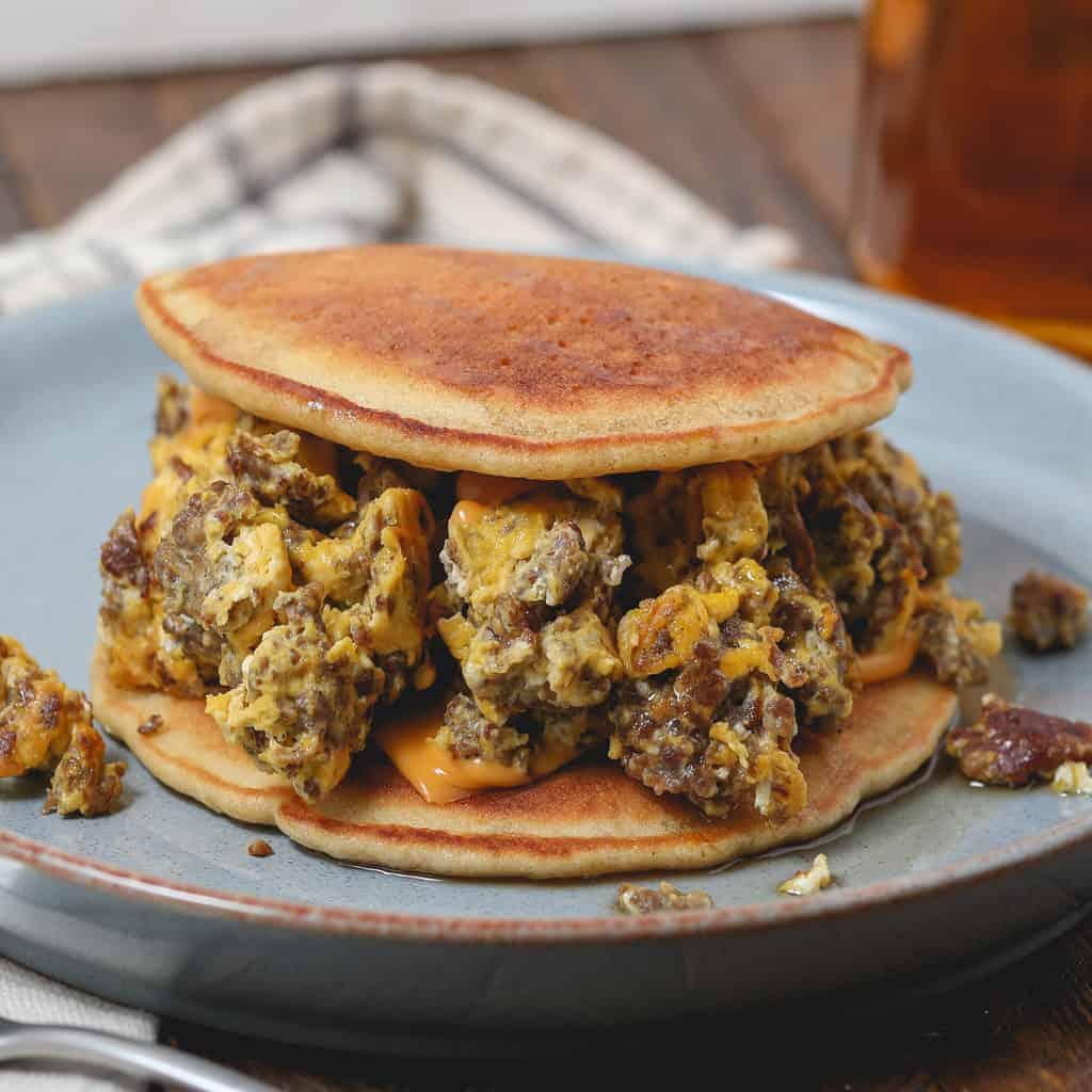Gluten Free Pancake Breakfast Sandwich with Sausage